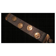 "Copper Mesh ! 1/4"" Wide Bracelet with Coin Decoration"