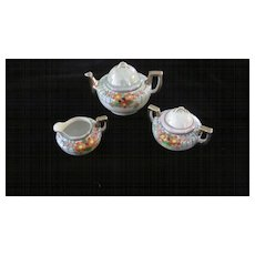 Japanese Luster Ware Gold Trimmed Flowered Tea Set, Child's Size