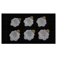 Set of 6 Ardalt Japan, Gold and White, Leaf Shaped Open Salts