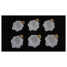 Set of 6 Ardalt Japan, Gold and White, Leaf Shaped Open Salts