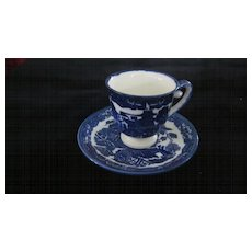Blue Willow Demitasse Cup and Saucer, Made in Japan