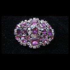Amethyst and Crystal Rhinestone Pin