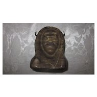Signed, Carved Soapstone Indian Warrior Bust, Buffalo Skin Robe