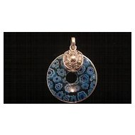 Blue Venetian Glass Sterling Silver Pendant