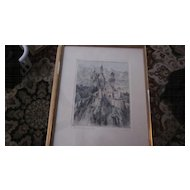 Paul Geissler Hand Tinted, Hand Signed Etching, Hohenschwangau