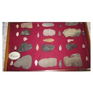 Framed Collection of Paleo Indian Lithic Tools and Projectile Points