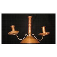 Arts & Crafts Hand Hammered Copper Three Light Candle Stand