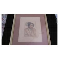 King Henry VIII Portrait Etching, Holbein, Knight, Chamberlaine