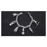 Vintage Silver Plated  Hawaiian Tiki Charm Bracelet