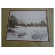 """F. Massa Sepia Landscape, Lithograph, 15""""X18"""""""