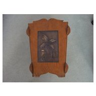 Arts & Crafts Hawaiian Motif Wood, Copper Waste Basket