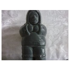 Inuit Carving, Man in Parka with Pack, Snowshoes, Abbott