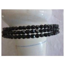 Black Faceted Glass Bead Three Strand Choker