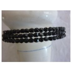Black Faceted Glass Bead Three Strand Choker