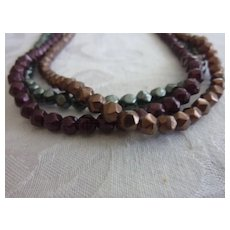 Triple Strand Faceted Hematite Choker Necklace