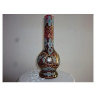 Moser Bohemian  Cranberry/Gilt Multi-Colored Vase, 13 ""