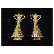 Pair Savoy China Weeping Gold Vases