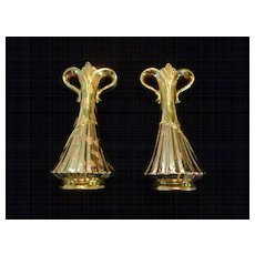 Pair Savoy China Weeping Gold Vases