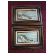 W. Reynolds, Pair Seascape with Gulls, Framed Oil Paintings