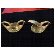 Bel-Terr Weeping Gold Creamer & Sugar Bowl