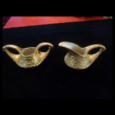 Bel-Terr Weeping Gold Creamer & Sugar Bowl