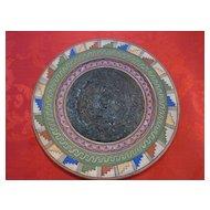 Mexican Aztec Calendar Terra Cotta Hand Painted Plate