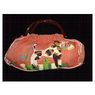 Terri Moore Vintage Beaded Purse, Dogs, Birds