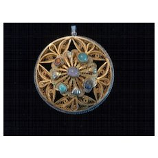 Brass, Sterling Silver, and Stone Filigree Pendant, 2 1/2""