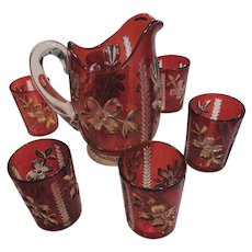 Ruby Flashed Souvenir Panelled Dogwood Juice Set