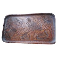 "Hand Carved Walnut Tray with Large Flowers, 10"" X 17"""