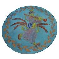 """Ratcliff Studios California Cloisonne, Enamel on Copper Decorative Platter, 21"""", Native Flute Player"""
