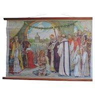 "The Baptism of Clovis, Belgian, Canvas, School Poster, 1920's, 24"" X 35"""