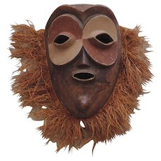 Large Hand Carved Tribal Mask with Applied Grass Hair