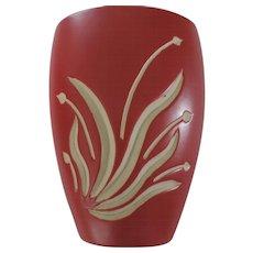"7 1/2"" Red and White Intaglio Vase"