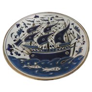 Blue, White, and Gold Embossed Sailing Ship Plate, Rhodes