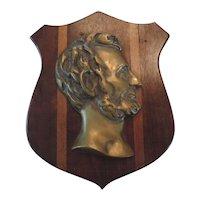 Bronze Lincoln Profile Plaque on Walnut Shield