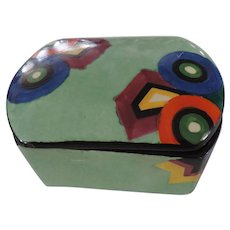 Art Deco Bizarre Green Ceramic box