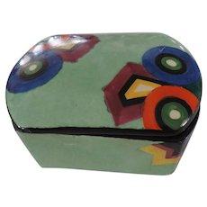 Art Deco Bizarre Green Ceramic box