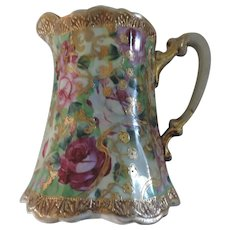 Nippon Hand Painted Milk Pitcher with Gold Trim
