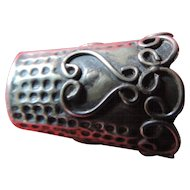 Sterling Silver Thimble, Heart Design, Mexican