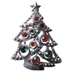 Multi Colored Rhinestone, Silver Metal Christmas Tree Pin
