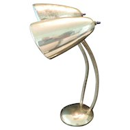 1960's Polished Brass Double Goose Neck Office Lamp