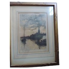 Jules Bastien-Lepage, Le Gaudronnage, Hand Signed, Hand Colored Print, Original Frame