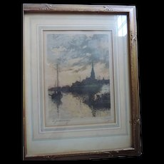Jules Bastien-Lepage, Le Gaudronnage, Hand Signed, Hand Colored Print, Original Frame