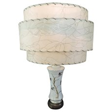 Mid Century Gold/White Ceramic Lamp, 3 Tier Parchment Shade