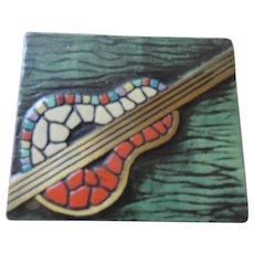 Dayagi Mid Century Trinket/Cigarette Box, Mosaic Guitar Motif