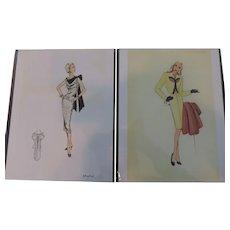 "1930's-40's High Fashion Design Prints by Doris Rustad, 7""X 10 1/2"""