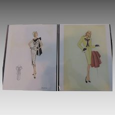 "1930's-40's High Fashion Design Prints by Doris Rustad, 7""X 10 1/2"""