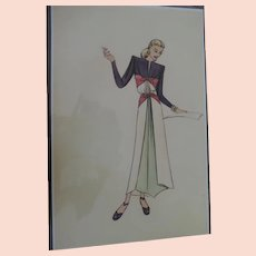 "1930's-40's High Fashion Design Prints by Doris Rustad, 10 3/4"" X 16 3/4"""