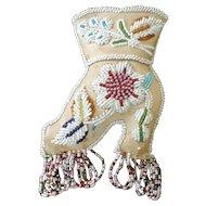 "Mohawk Souvenir Beaded Pin Cushion, Victorian Boot, 5"" X 10"""